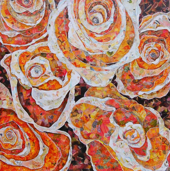 mixed media on canvas, 36 x 36""